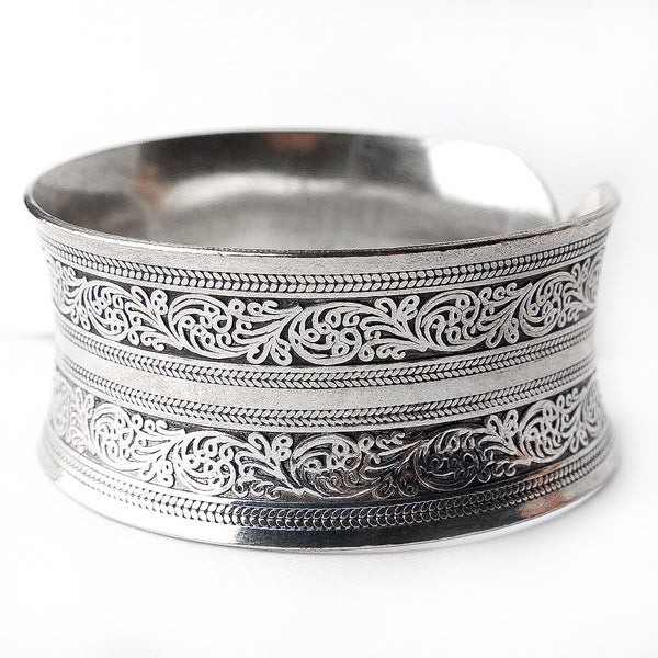 Mix-Metal Silver Cuff Bracelet (China)