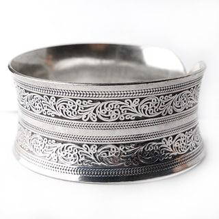 Mix-Metal Silver Cuff Bracelet (China)