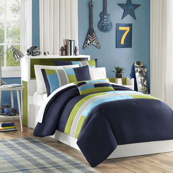 Mi Zone Switch 4-piece Casual Stripe Comforter Set (As Is Item)