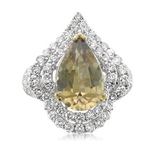 Montebello 18k Gold Color Change Diaspore and Diamond 7 3/8ct TGW Certified One-of-a-Kind Ring (H-I, I1)