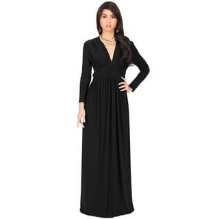 KOH KOH Women's Vintage Inspired V-neck Long Sleeve Evening Maxi Dress