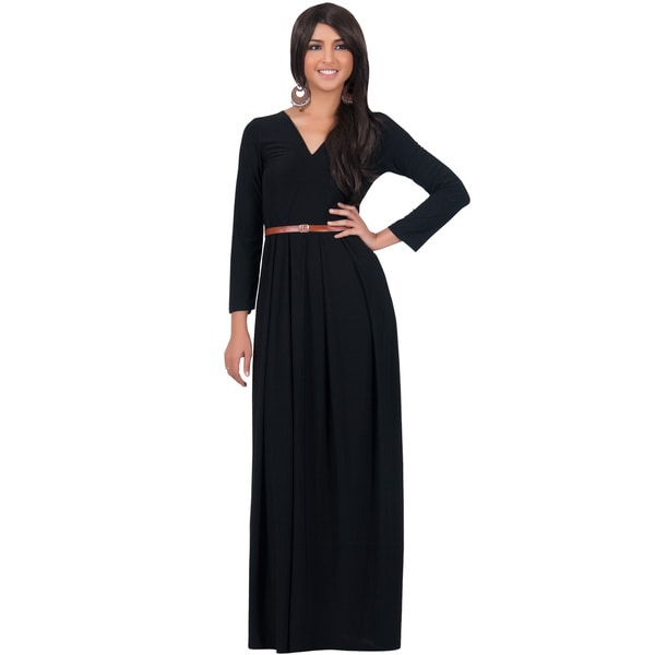 KOH KOH Women's V-Neck Long Sleeve Elegant Cocktail Evening Formal Maxi Dress