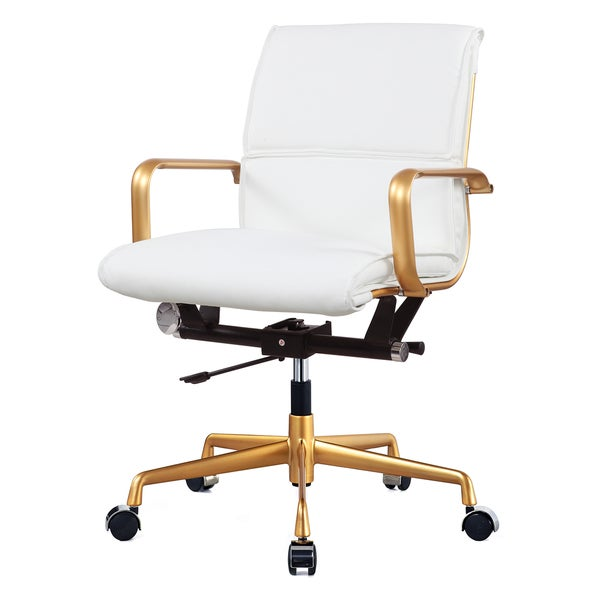 Gold and White Vegan Leather Office Chair