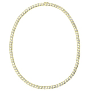 Finesque Sterling Silver or Gold Over Silver 1/4 ct TDW Diamond Stripe Necklace