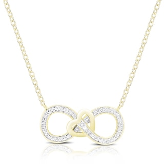 Finesque Gold Overlay Diamond Accent Infinity Heart Necklace