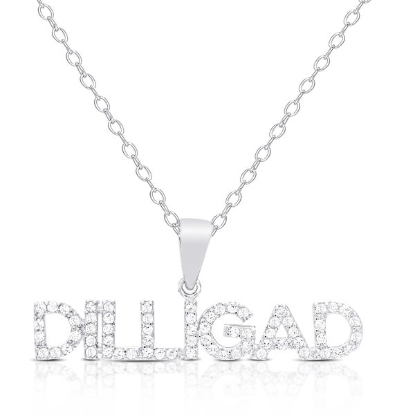 "Dolce Giavonna Sterling Silver Cubic Zirconia ""DILLIGAD"" (Do I Look Like I Give a Darn) Necklace"