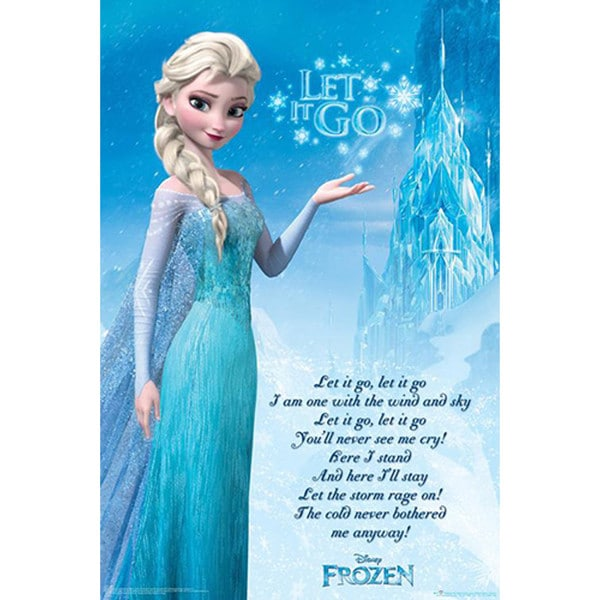Lyrics Let It Go Poster Frozen Movie Elsa Song Winter Blue Snow Child Adult
