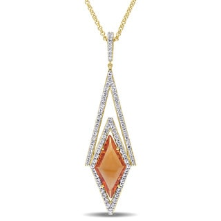 Versace 19.69 Abbigliamento Sportivo SRL 18k Yellow Gold Plated Sterling Silver Citrine and White Sapphire Drop Necklace