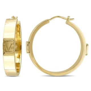 Versace 19.69 Abbigliamento Sportivo SRL 18k Yellow Gold Plated Sterling Silver Logo Mark Hoop Earrings