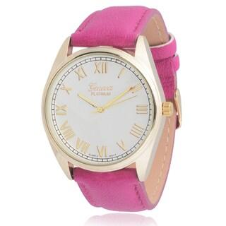 Geneva Platinum Women's Round Face Leather Strap Watch