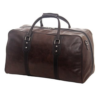 Piel Leather 21-inch Classic Vintage Zip-Down Carry On Duffel Bag