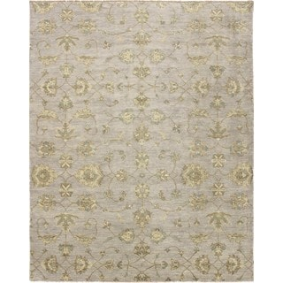Indo Oushak Esther Grey Hand-knotted Rug (9'1 x 11'7)