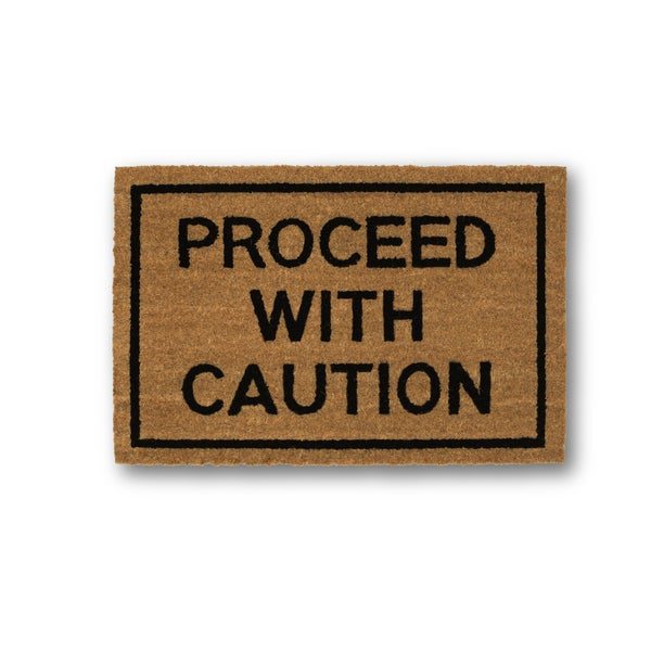 Clever Doormats Proceed With Caution Coir Doormat (15.75in x23.6in)
