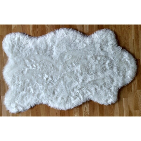 Faux Fur Sheepskin Shag Area Rug White Pelt Free Form (4