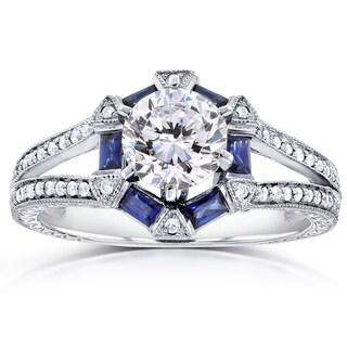 Annello 14k Gold Forever One Moissanite Baguette Sapphire and 1/4ct TDW Diamond Art Deco Engagement Ring (G-H, I1-I2)