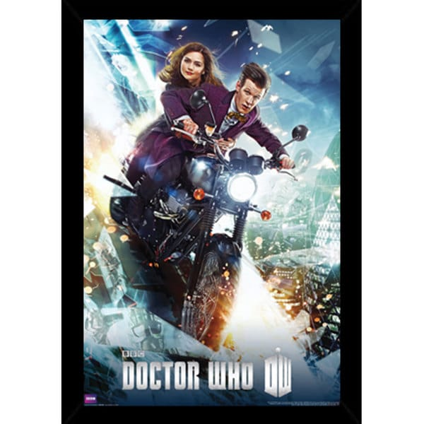 Doctor Who Print (24-inch x 36-inch) with Traditional Black Wood Frame