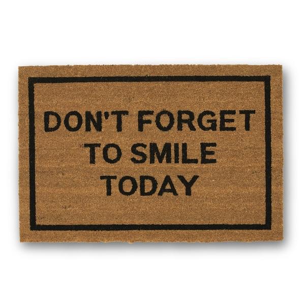 Clever Doormats Don't Forget To Smile Today Brown Coir Doormat (20in x30in)