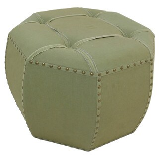 International Caravan Rustic Elegance 27-inch Sage Octagonal Button Tufted Ottoman