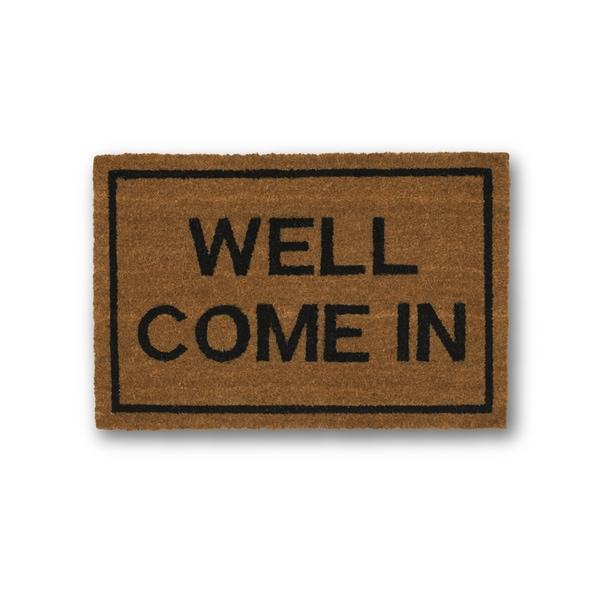 Clever Doormats Well Come In Brown Coir Doormat (15.75in x23.6in)