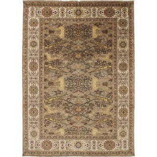 Silk Oushak Danyiar Brown Hand-knotted Rug (8'9 x 12'3)