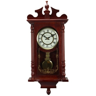 Bedford Clock Collection Redwood Finish 25-inch Wall Clock with Pendulum and Chime