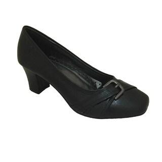 Women's Black Mid Heel Pump with Strap