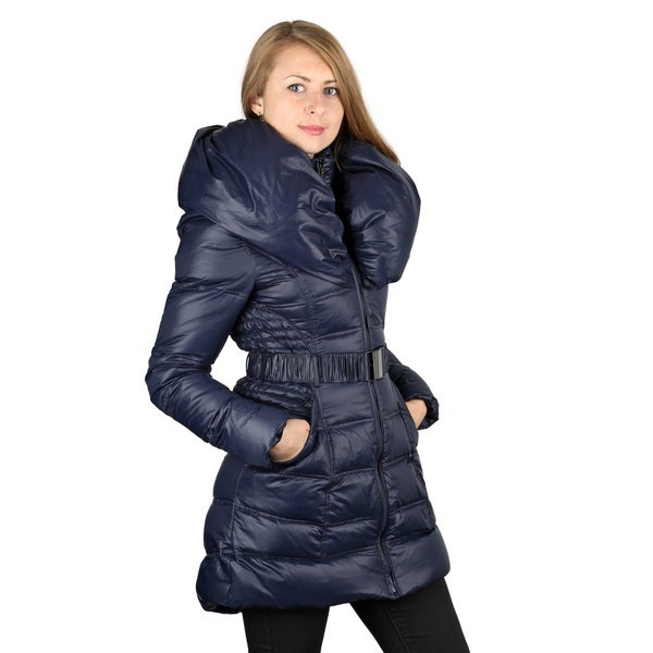Laundry by Shelli Segal Blue Down Pillow Collar Coat