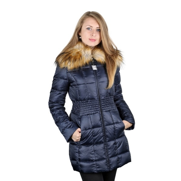 Laundry by Shelli Segal Blue Gathered Waist Down Puffer