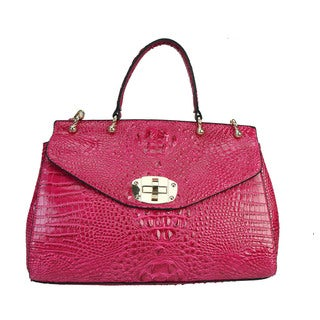 Rimen & Co. Shiny Croco Satchel Accented With Removable Strap