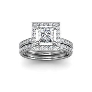 14k White Gold 2ct TDW Clarity Enhanced Diamond Princess Cut Bridal Set (H-I, I1-I2)