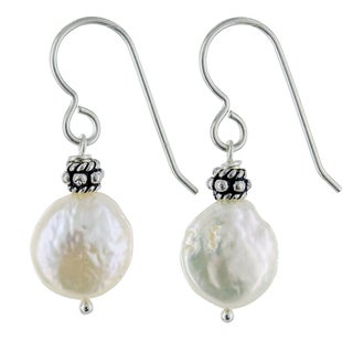 Ashanti Coin Pearl Sterling Silver Handmade Earrings