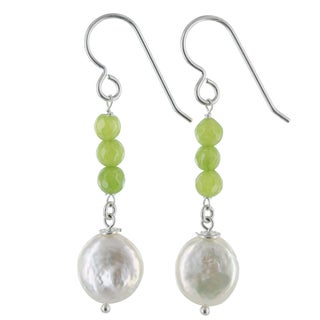 Ashanti Coin Pearl and Apple Green Jade Gemstone Sterling Silver Handmade Earrings