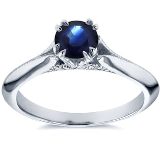 Annello 14k White Gold Blue Sapphire and Diamond Accent Antique Floral Sleek Edged Engagement Ring (G-H, I1-I2)