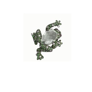 Kabella 18K White Gold 1/5ct TDW Diamond and Green Amethyst Precious Gemstone Frog