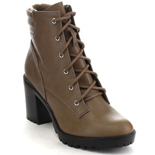 Breckelle's RANGER-21 Women's Basic Block Heel Lace Up Military Ankle Booties