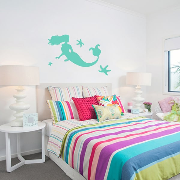 Small Mermaid and Starfish Wall Decals