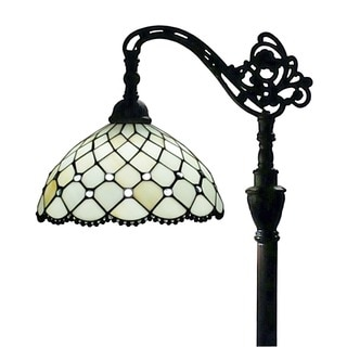 Amora Lighting Tiffany Style Jeweled Reading Floor Lamp 62 In Adjustable Shade