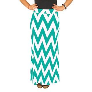 Women's Fold over Waist Full Length Mint/ White Chevron Maxi Skirt