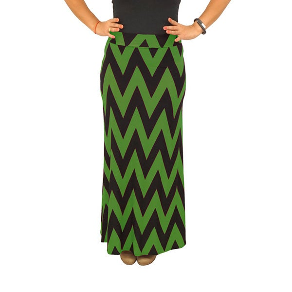 Women's Fold over Waist Black/ Army Green Chevron Maxi Skirt