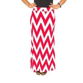 Fold over Waist Full Length Coral White Chevron Maxi Skirt