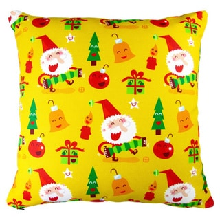Artisan Pillows 17-inch Christmas Happy X-mas Santa and Ornaments Indoor Holiday Throw Pillow