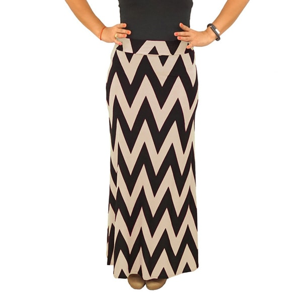 Fold over Waist Full Length Black Beige Chevron Maxi Skirt