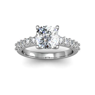 2.30ct Clarity Enhanced Diamond Ring Cushion Cut Solitaire In 14 Karat White Gold (H-I, I1-I2)
