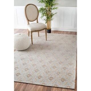 nuLOOM Intricate Florette Trellis Cotton/ Polyester Beige Rug (7'6 x 9'6)