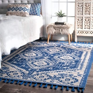 nuLOOM Flatweave Tribal Diamond Dragon Cotton Tassel Blue Rug (8' x 10')