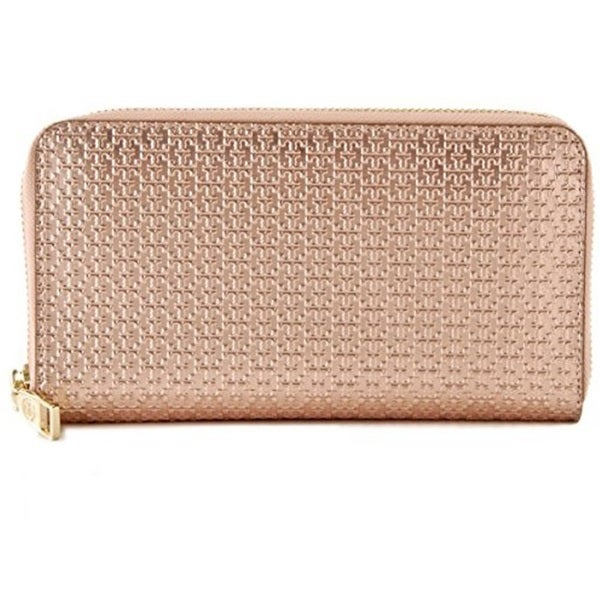 Tory Burch Metallic Embossed T Zip Continental Wallet