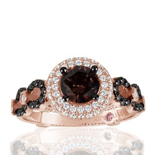 Suzy Levian Bridal Sterling Silver Brown and White Cubic Zirconia Engagement Ring