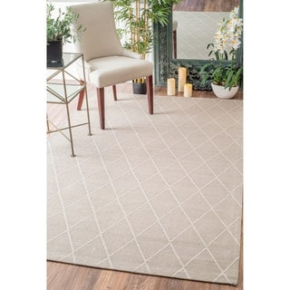nuLOOM Modern Diamond Lattice Beige Rug (7'6 x 9'6)