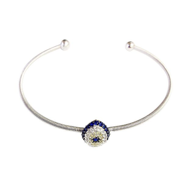 Sterling Silver Evil Eye Charm Cubic Zirconia Bangle