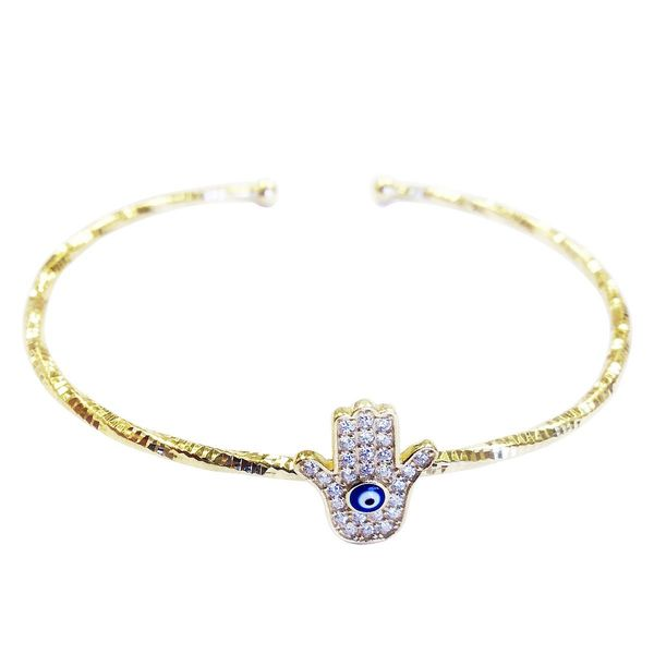 14k Gold over Silver Evil Eye Charm Cubic Zirconia Bangle
